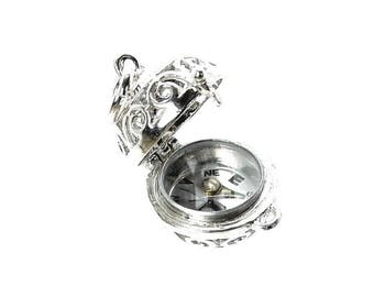 Sterling Silver Opening Compass Orb Fob Charm For Bracelets