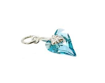 Sterling Silver & Swarovski Aqua Marine Crystal Wild Heart Charm For Bracelets