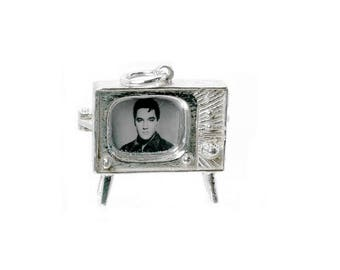 Sterling Silver Opening Elvis TV Set Charm For Bracelets