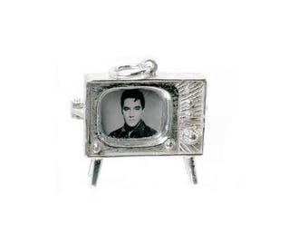 Sterling Silver Opening Elvis TV Set Charm For Bracelets