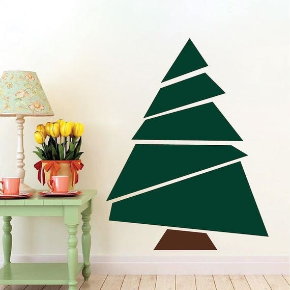Paper Christmas Tree Wall Decoration : Paper christmas tree wall decal party decorations