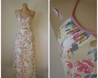 Sale 1970's Halter Maxi Dress / Vintage Maxi Bolero Prom Dress / Vintage 70s Prom Dress / Maxi Dress Set / 70s Jacket Dress Set XS