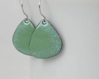 Green and Light Blue Enamel Earrings - Enamel Jewelry