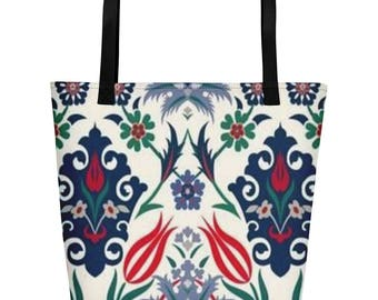 Abstract Reds and Blues Beach Bag