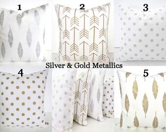Christmas METALLIC PILLOWS Silver Pillows Gold Metallic Throw Pillows Athena Gold Pillow Cover Arrows Gold Pillow Covers Gold Feather