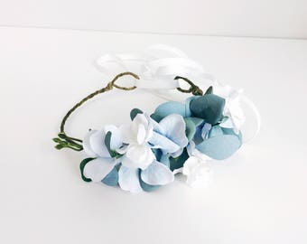 M2M Made To Match Well Dressed Wolf Blue Aunt Heart Partial Halo/Headband, Tie Back, Adjustable, Pale Blue and White