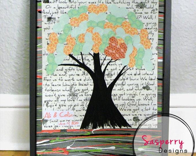 Custom Song Lyric Art or Music Sheet Painting Gift - Personalized Wedding Lyrics Tree of Life Wall Art on Canvas - Unique Engagement Gift