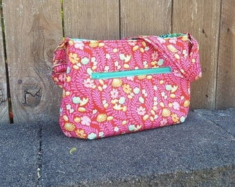 Thistle Picket Tote | Tula Pink Wildflower + Moss Mosaic | magnet snap top + adjustable strap