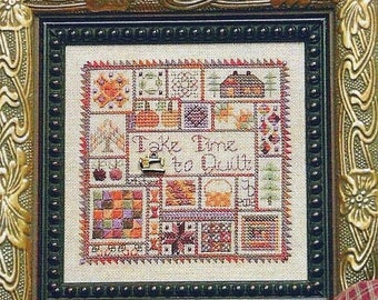 25% OFF SALE Jeanette Douglas Autumn Take Time To Quilt Counted Cross Stitch Pattern