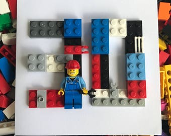 Lego fireman Spaceman builder racing driver, Age Number Initial Birthday Card with 'Basic' Mini figure 16th 18th 20th 30th 40th Personalised