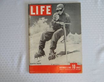 """Vintage 1942 Life Magazine Wartime Issue November 9 """"Mountain Trooper""""- US Bomb Hong Kong ,British Offensive in Egypt"""