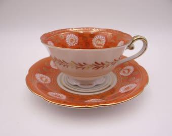 Vintage Occupied Japan Orange Teacup and Saucer - Spectacular