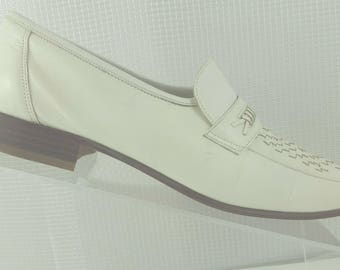 FLORSHEIM White Leather and Woven Leather Men's Loafer made in ITALY size 9 D Mad Men Rockabilly Miami Gangster excellent vintage condition