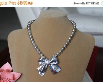 ON SALE Bow Necklace, Silver Tone Necklace, Big Beads and a Bow, gift, collectors item, Christmas gift, Birthday gift, Silver Bow,
