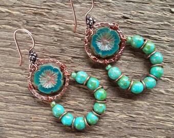 Flower Earrings, Dangle Earrings, Copper Earrings, Beaded Earrings, Green Earrings, Statement Earrings, Boho Jewelry, Bohemian Jewelry