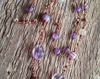 Amethyst Necklace, Wire Wrapped Necklace, Ultra Violet, Bohemian Jewelry, Copper Necklace, Beaded Necklace, Gift for Her