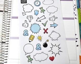 Cartoon planner stickers, bubbles, hands, symbols, planner sticker deco
