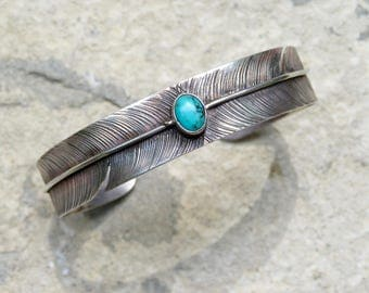 Vintage Turquoise and Silver Feather Cuff, Native American Turquoise Bracelet, Navajo Turquoise and Sterling Feather Jewelry, Turquoise Cuff