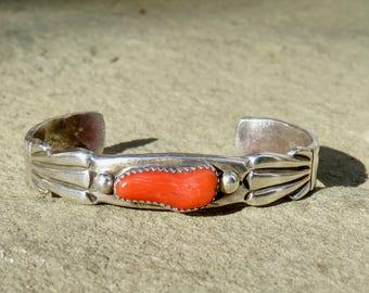 Native American Jewelry,Navajo Coral Cuff,Vintage Navajo Jewelry,Coral Jewelry,Vintage Coral Bracelet,Navajo Coral Bracelet,Vintage Coral