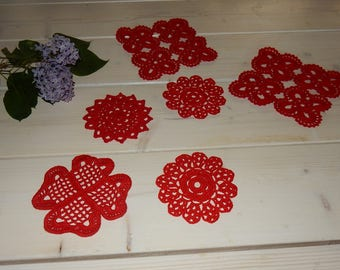 Set of 6 swedish hand crocheted  doilies  / vintage / retro / red
