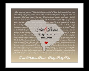 Custom map, rustic wedding, gift, valentines gift for couples, him her, anniversary, engagement location or myrtle beach, south carolina map