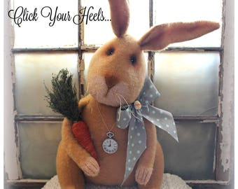 "25"" tall Brown Spring Bunny with Carrot & Pocketwatch"