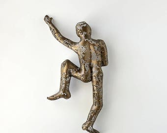 Metal wall art, Climbing man sculpture, Housewarming gift, wire mesh sculpture, Contemporary art