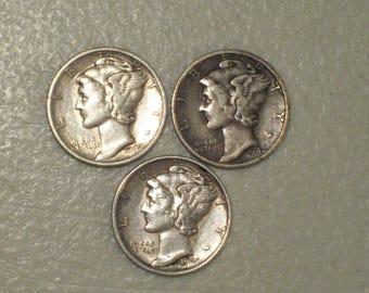 Lot of 3 US 1942 Winged Liberty Head Mercury Silver Dimes, 1942 P, 1942 D, 1942 S