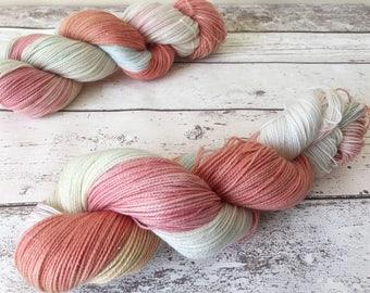 Sparkle Sock in Sunrise: Naturally hand-dyed Sock yarn in Superwash Merino, Nylon and Silver Stellina 100g / 400m