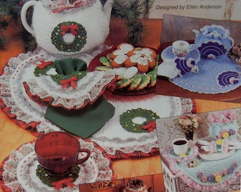 Tea Party Crochet Pattern Book from The Needlecraft Shop Tea Cozy Sets Fan Design and Sets for Spring, Fall, Christmas