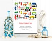 Cars and Trucks Invitation | Kids Birthday | Printable Editable Digital PDF File | Instant Download | KBI342DIY