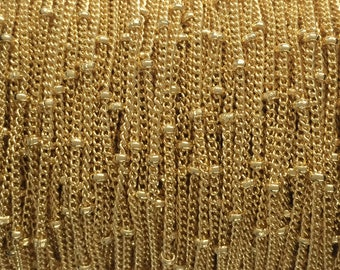 5FT(1.5mt) Gold Filled chain, satellite chain link 1.2mm curb 1.9mm balls , gold fill satellite curb ball chain, yellow gold satellite chain