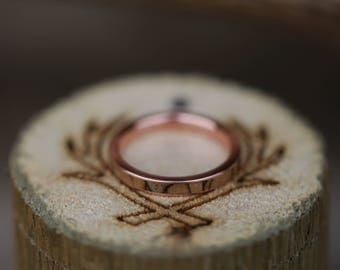 Spalted Maple Inlay Set on 10k Rose Gold Wedding Band - Staghead Designs