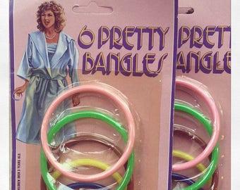 1980s 6 Pretty Bangles blister pack - Made in Hong Kong