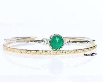 Genuine Green Onyx Bracelet / May Birthstone / Alternative Emerald Bangle / Gift for Her / Green Gemstone Bangle / New Mother Gift
