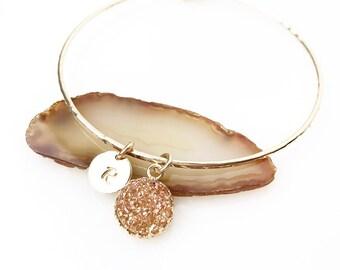 Champagne Topaz Druzy Charm Bracelet / Personalized Druzy Bracelet / Gold Gemstone Jewelry / Gift for Her / Bridesmaid Initial Gift