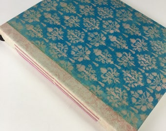 Blush Pink and Blue Damask, Renaissance, Gardening Journal, Writing Journal, Unique Journal, Wedding Guest Book, Travel Journal, 9 x 7 in