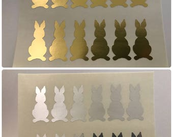 24 Rabbit Stickers. Easter Stickers. Bunny Stickers. White Pink Gold Silver. Animal Stickers. Party Favor. Ready To Ship. Purple Sakana