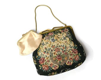 Tapestry evening purse with small change purse vintage 1960s floral
