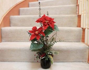 Red Poinsettia Silk Flower Arrangement  (X17-52)