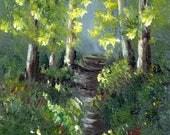Spring Trail ACEO Landscape Flowers Trees Path Original Acrylic ACEO landscape painting by Australian Artist Janet M Graham