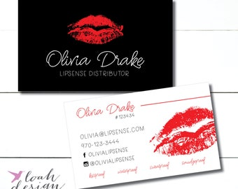 Lipsense Business Cards, Senegence, Lipstick, Small Business Owner, Marketing Materials, Lip Distributor, Lipstick Branding // Business Card