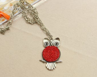 Red owl necklace, chain animal necklace, gift for her, crochet necklace, red jewelry, red necklace, every day jewelry