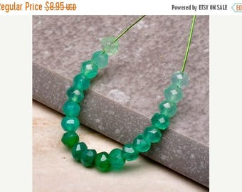 Summer Sale Natural Green Onyx Rondell Beads, 3.5mm Faceted, Ombre Greens 19 Beads