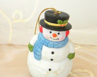 Xmas in July Sale 1988 Frosty the Snowman Enesco Porcelain Ornament, Chris Davenport, Original Sticker