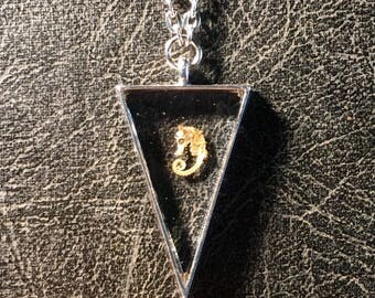 Micro Mini Floating Seahorse Resin Triangle Ossuary Specimen Mummified Cruelty Free Taxidermy Necklace Vulture Culture