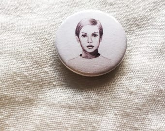 Twiggy Illustration Pin Badge