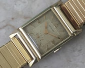 Vintage Men's Swiss Watch Wittnauer by Longines 1940s, Heirloom 10K Yellow Gold Filled, Art Deco, Guilloché Dial, Sub Seconds, Working Great