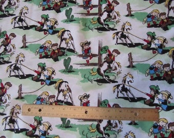 White/Green Cowboy/Cowgirl/Rodeo/Roundup Flannel Fabric  by the Yard