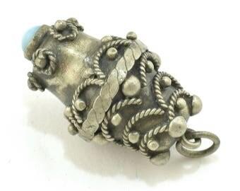 Etruscan 800 Silver Fob Charm Pendant Filigree Italian ~ Lot 1812